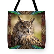 Owl With Collage Border Tote Bag