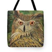 Owl With Orange Eyes Tote Bag