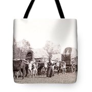 Ox-driven Wagon Freight Train C. 1887 Tote Bag by Daniel Hagerman