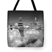 P-51 Mustangs Black And White Version Tote Bag