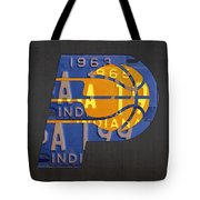 Pacers Basketball Team Logo Vintage Recycled Indiana License Plate Art Tote Bag