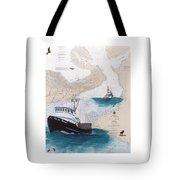 Pacific Dream Crab Fishing Boat Nautical Chart Art Tote Bag