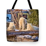 Pack Of Arctic Wolves Watching A Polar Bear Movie Tote Bag