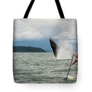 Paddle Boarders And Humpback Whale Tote Bag