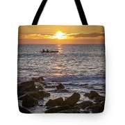 Paddlers At Sunset Portrait Tote Bag