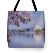 Paddling Past The Blossoms On The Basin Tote Bag