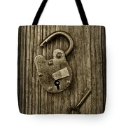 Padlock Black And White Tote Bag