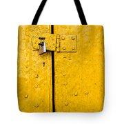 Padlock On An Old Yellow Door Tote Bag