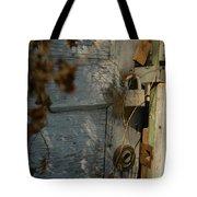 padlocked old wood door abandoned Streetman Texas Tote Bag