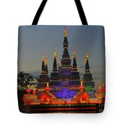 Pagoda Lantern Made With Porcelain Dinnerware At Sunset Tote Bag