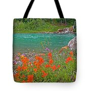 Paintbrush By Bow River In Banff Np-ab Tote Bag