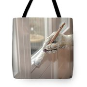 Paintbrush With White Paint In Hand Tote Bag