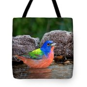 Painted Bunting Passerina Ciris In Water Tote Bag