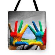 Painted Colorful Hands Showing Way To Colorful Happy Life Tote Bag