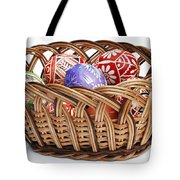 painted Easter Eggs in wicker basket Tote Bag