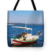 Painted Fishing Boat In Corfu Greece Tote Bag