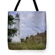 Painted Fort Gratiot Light House Tote Bag