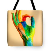 Painted Hand With Ok Sign Tote Bag