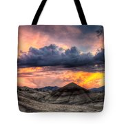 Painted Hills In Oregon Panorama At Sunset Tote Bag