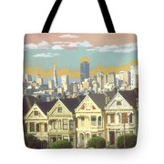 San Francisco Alamo Square - Watercolor Illustration Tote Bag