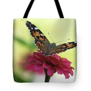 Painted Lady Butterfly On Zinnia Tote Bag