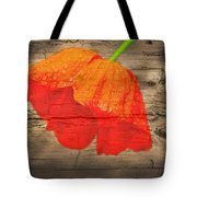 Painted Poppy On Wood Tote Bag