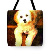 Painted Puppy Tote Bag