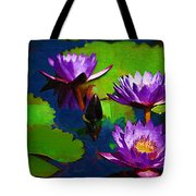 Painted Purple Water Lilies Tote Bag