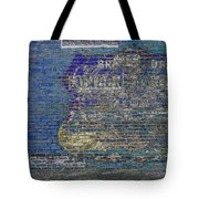Painted Sign On A Brick Wall Tote Bag