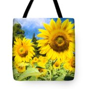 Painted Sunflower Tote Bag