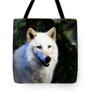 Painted White Wolf Tote Bag