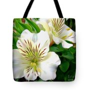Painterly Alstroemeria Tote Bag