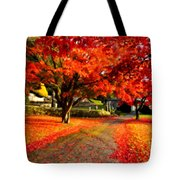 Painterly Autumn Path Tote Bag
