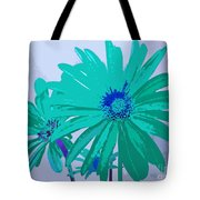 Painterly Flowers In Teal And Blue Pop Art Abstract Tote Bag