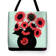 Painterly Red Sunflowers With Purple Tote Bag