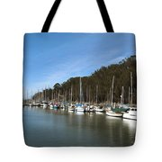 Painting Bay Side Harbor Tote Bag