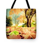Painting Of Autumn Fall Landscape In Park Tote Bag