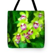 Painting Of Green Orchids Tote Bag