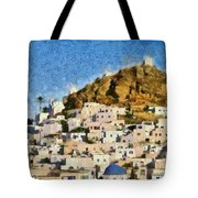 Painting Of Ios Town Tote Bag
