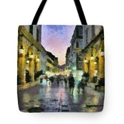 Old City Of Corfu During Dusk Time Tote Bag