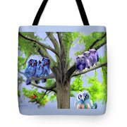 Painting Of Owls And Birds Nest In Tree Tote Bag