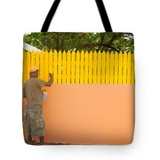 Painting The Fence Tote Bag
