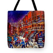 Paintings Of Montreal Hockey On Du Bullion Street Tote Bag