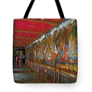 Paintings On Wall Of Middle Court Hallof Grand Palace Of Thailand Tote Bag