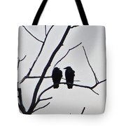 Pair Of Birds In Black Tote Bag