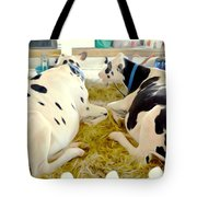 Pair Of Black And White Cows 3 Tote Bag