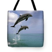 Pair Of Bottle Nose Dolphins Jumping Tote Bag