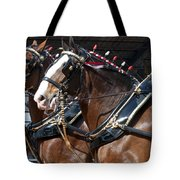 Pair Of Budweiser Clydesdale Horses In Harness Usa Rodeo Tote Bag