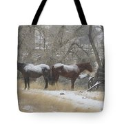 Pair Of Horses In A Snow Storm   #0559 Tote Bag