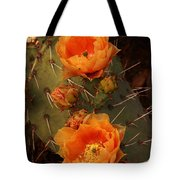 Pair Of Prickly Pear Cactus Blooms In The Sandia Foothills Tote Bag